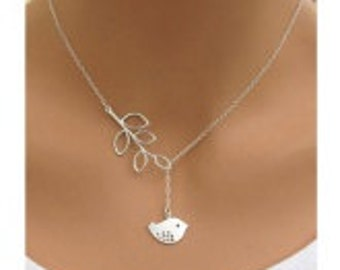Delicate silver bird necklace