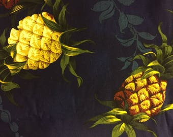 Tropical Fabric Pineapples Navy Cotton By The Yard 36 Inches Long.