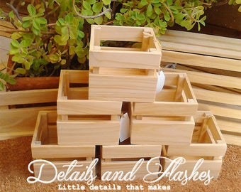 Set of six Wooden crates for centerpiece, wooden crate centerpieces, wood box, wood crate, wedding decorations, baby shower, cupcake box,
