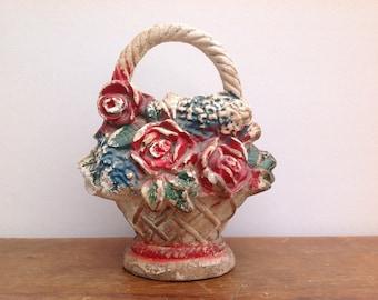 Antique Chalkware Floral Basket