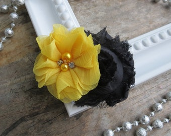 Yellow and Black Shabby chic Hair Flower clip Girls Hair Clip Wedding Hair Clip Yellow and Black Shabby Chic Flower