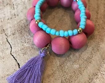 Set of 2 stretch stackable bracelets for little girls