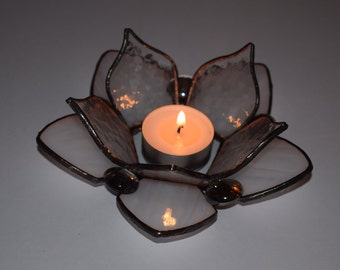 Stained Glass Lotus Tea Light Holder