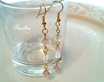 Cherry Blossom buds gradient earring with Czech glass beads spring simple earrings brass