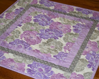 Purple Table Topper, Orchid Table Topper, Purple Table Runner, Bedroom Decor, Purple Decor, Purple and Gray, Table Runner Quilt, Table Quilt