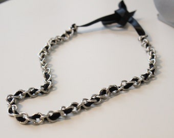 2 in 1 Silver and Black Necklace