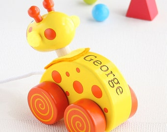 Yellow Giraffe Wooden Pull Along Toy