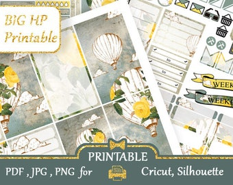 Vintage BALLOON BIG Happy Planner Stickers Weekly kits Gray and yellow Happy Planner Printable Large Happy Planner, Silhouette Cut files