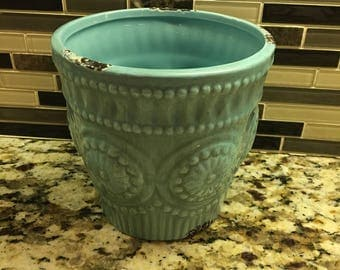 Teal pottery 20 oz soy wax filled with your choice of scent