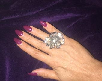 Vintage Oversized Flower Rose ring size 7