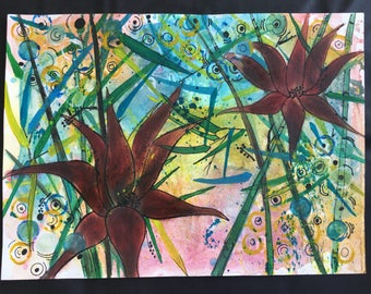 Lillies in the wild- original mixed media painting
