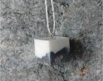 Pendant white concrete cube