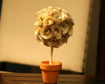 Vintage Book Page Mini Topiary