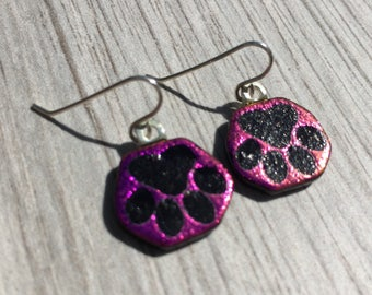 Dichroic Fused Glass Earrings - Pink Dog Paw Laser Engraved Etched Earrings with Solid Sterling Ear Wires