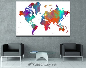 Colorful World Map Printable Wall Art