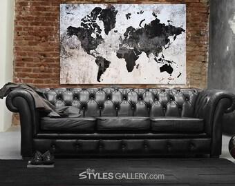 Concrete World Map Printable Wall Art