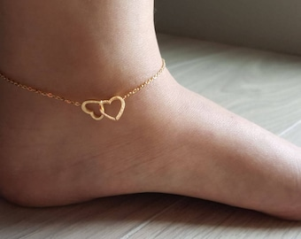 18k Gold Double Heart Anklet,Heart anklet,Hearts Anklet,Loveknot Anklet,Cute Anklet,Birthday gift,Bridesmaid Gift,Christmas gift