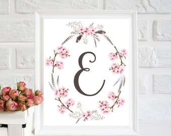 E Letter print, Nursery Monogram, Nursery floral decor, Baby Girl Nursery Wall Art, Floral monogram, calligraphy printable, girl monogram
