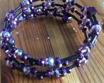 Purple & Black Memory Wire Bracelet