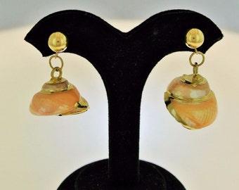 Estate Antique Natural Seashell 14k Yellow Gold Earrings