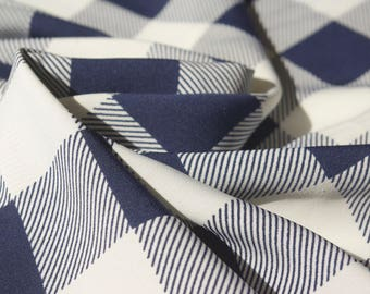 Navy White Check Polyester