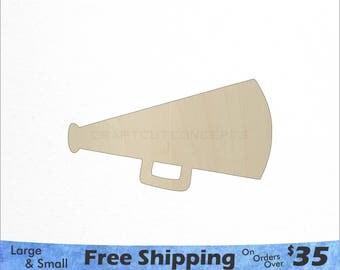 Megaphone Cutout - Large & Small - Pick Size - Laser Cut Unfinished Wood Cutout Shapes (SO-0136)