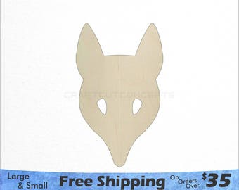 Fox Head Mask Shape - Woodland Wildlife - Large & Small - Pick Size - Laser Cut Unfinished Wood Cutout Shapes (SO-0113)