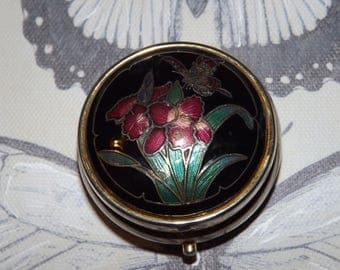 Vintage French Pill Box - Art Nouveau Style - Flowers and Butterfly