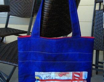 Sea Side Fabric Handbag In Deep Blue and Red with Exterior Zipper Pocket