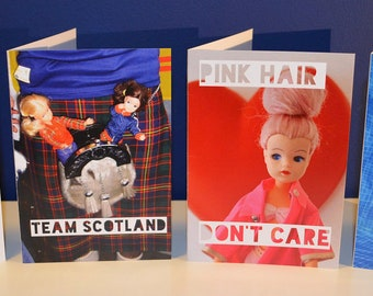 Pack of four A6 cards featuring vintage Sindy dolls for all occasions