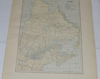 1915 Antique Quebec Canada Map