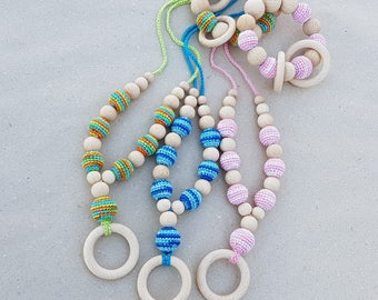 Set of Teething necklace and Rattle Teething toy Teething beads Nursing necklace Baby rattle Crochet wooden beads Organic Natural Eco toy