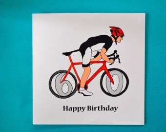 Milestone road racer birthday card, road bike, bike, male, dad, brother, husband birthday card, age, sports