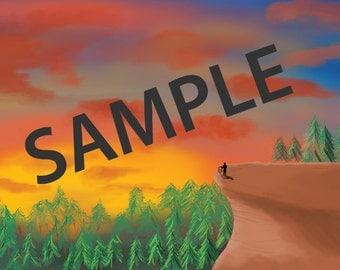 CastleVania Sunset Digital Painting 11 x 17