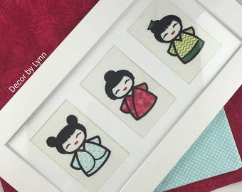 Geisha Girls, Nursery Wall art, Girls room decor