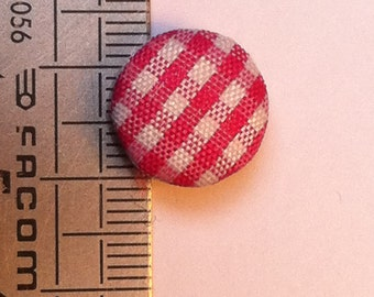 Fabric covered buttons lot gingham pink