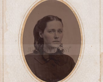 Antique Tintype Photograph . Civil War Era Portrait of a Woman . Digital Download . High Resolution Scan