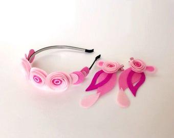Headband, flowers headband, pink flowers, red flowers