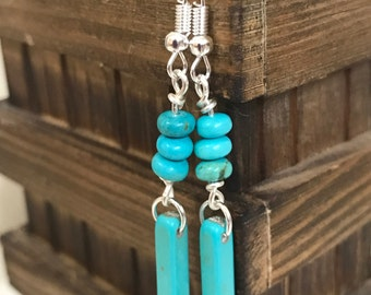 Turquoise Dangle Earrings || Boho Chic Earrings || Blue Earrings