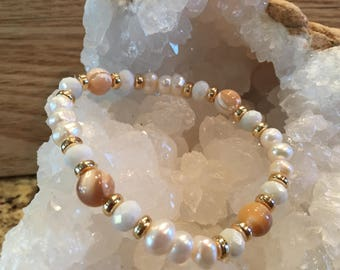Freshwater pearls with mother of pearl accent beads and matching earrings
