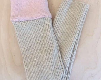 3-9 months Beige with Pink waistband merino wool leggings