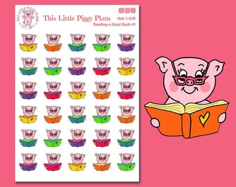 Oinkers Reads a Book - Reading Planner Stickers - Book Planner Stickers - Read - Book Stickers - Planner Stickers - [Hob 1-01R]