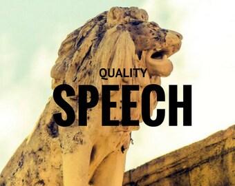 Ceremonial Speech - Maid of Honor Speech - Groomsman Speech - Introduction Speech - After-dinner and/or Toast - Acceptance Speech