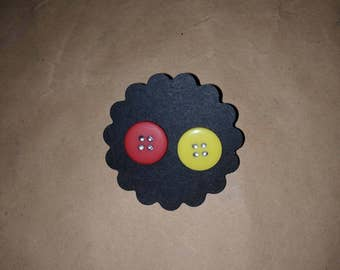 Red and yellow button earrings