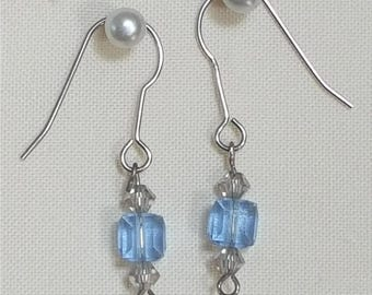 Blue Swarovski Crystal Dangle Earrings