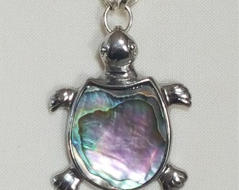 Abalone and Pearl Turtle Pendant
