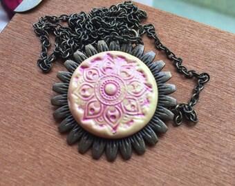 Sunflower polymer clay pendant