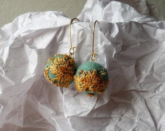 Embroidered felt ball earrings