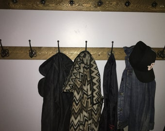 Refurbished Wood Coat Rack with 7 Hooks