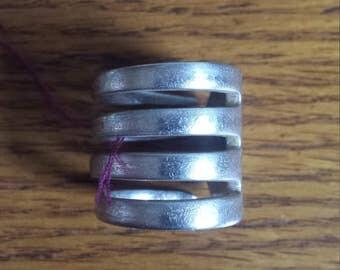 Handmade vintage silver fork ring